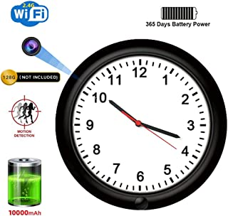 SDETER Hidden Camera, 1080P WiFi Spy Wall Clock Camera Rechargeable Battery Powered Adjustable Lens Wireless Camera Motion Detection Push Alarm Loop Recording for Home Security