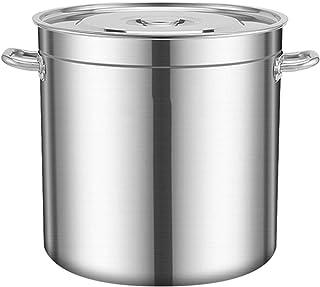 Seau à Soupe en Acier Inoxydable de Qualité Alimentaire 304, à Grande Capacité Commercial Godet Eau avec Couvercle (Taille...