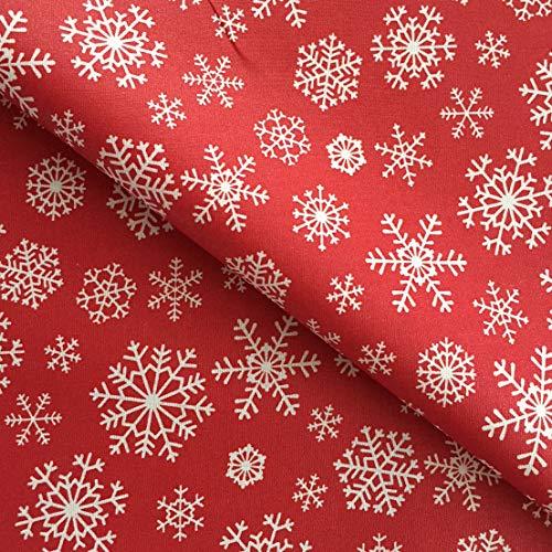 Rond Rouge Flocon de neige facile à nettoyer Nappe en acrylique – 140 cm de diamètre