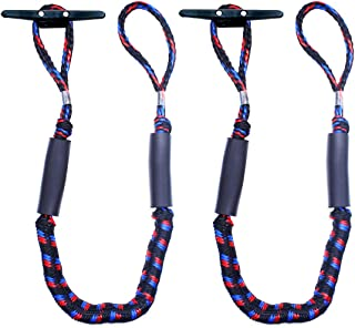 Botepon 2Pcs Boat Dock Line, Bungee Cords for Boats, Boating Gifts for Men, Boat Accessories, Pontoon Accessories, Perfect for Jet Ski, SeaDoo, WaveRunner, Kayak, Pontoon (4', 5', 6' Length)