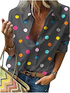 Tralounry Women's V Neck Roll-Up Sleeve Loose Fit Casual Polka Dot Tops Blouse
