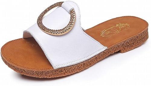 JIA JIA Sandales plates anti-dérapantes d'été plates strass pantoufles pour femmes,blanc,36  aucune hésitation! achetez maintenant!