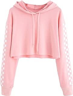 Women's Pineapple Embroidered Hoodie Plaid Crop Top Sweatshirt