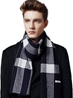 Mens 100% Wool Scarfs Classic Plaid Business Wraps Scarves Christmas Scarfs for Autumn Winter, Soft Warm Thick Neckwear, M...