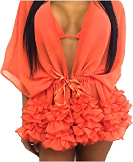 Mogogo Womens Chiffon Bikini Flounced Cardigan Dolman Sleeve Cover-Up