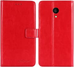 TienJueShi Red Book Stand Premium Retro Business Flip Leather Protector Case Cover Skin Etui Wallet for Allview P4 PRO 4.2 inch