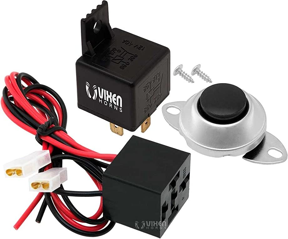 Vixen Horns 4-PIN Relay 40A/12V with Pre-Wired Plug/Socket and Momentary Horn Button/Switch VXA7902