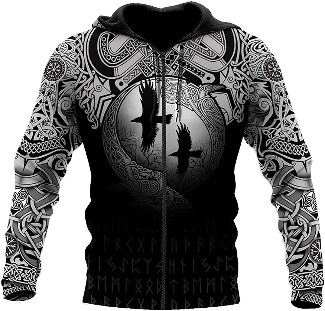 Raven Pullover Sweater 3D Print Casual Loose with Big Pockets Long Sleeve Hoodie Viking Myth Autumn Harajuku Style Coat