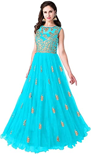 Multi Color Heavy Soft Net Fabric Embroidery Work Round Neck Sleevesless Long Semi Sticthed Gown For Women Beli rama