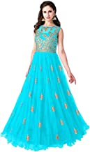 Varudi Fashion Multi Color Heavy Soft Net Fabric Embroidery Work Round Neck Sleevesless Long Semi Sticthed Gown For Women ...