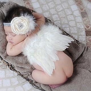 ANPI ベビー撮影道具 ベビー 赤ちゃん かわいい 写真撮影用 天使着ぐるみ 出産祝い 誕生記念 百日記念 寝相アート コスプレ ハンドメイド プレゼント ヘアバンド 羽 二点セット 白+ベージュ