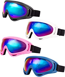 LJDJ Ski Goggles, Pack of 4 - Snowboard Adjustable UV 400 Protective Motorcycle Goggles Outdoor Sports Tactical Glasses Dust-Proof Combat Military Sunglasses for Kids, Boys, Girls, Youth, Men, Women