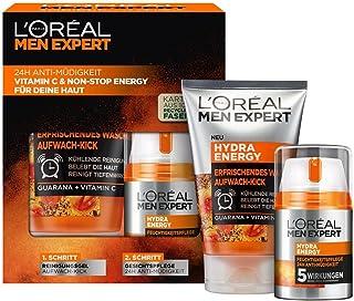L'Oréal Men Expert Geschenkset für Männer, Mit Waschgel und 24h Feuchtigkeitspflege, Mit Guarana und Vitamin C, Hydra Ener...