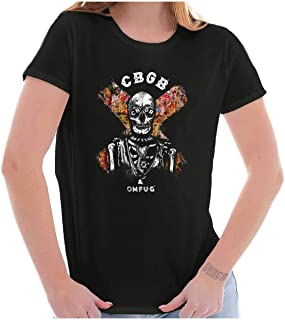 CBGB Punk Rock Skeleton NYC 1973 Retro Club Womens T Shirt