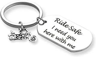 TOGON Biker Keychain Motorcycle Keychain Ride Safe I Need You Here with Me Keychain New Driver Gift Couple Lovers Keychain...