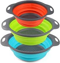 ZealMax Colador plegable, colador, set de cocina de silicona redonda para escurrir pastas, vegetales y frutas (3, verde naranja azul)