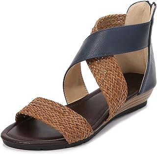 Sandalias Planas para Mujer, Correa de Tobillo de Verano, Zapatillas cómodas para Caminar al Aire Libre, Zapatos de Vacaciones de Ocio Casual, Sandalias de Playa de Verano Bohemio