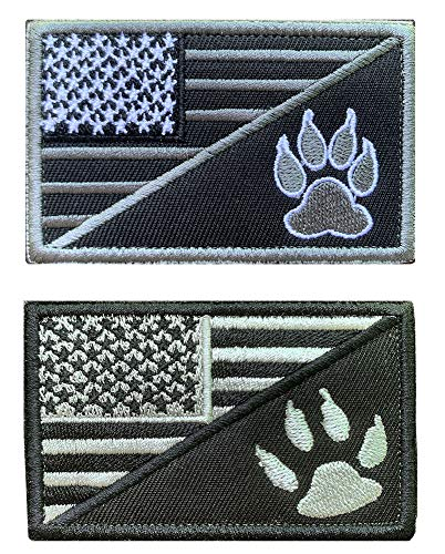 Antrix 2 Pcs US Flag Service Dog K9 Paw Tracker Tactical Military Police Dog Army Dog Patch Hook & Loop Dog Patch for Medium and Large Dog Vests Harnesses Collar