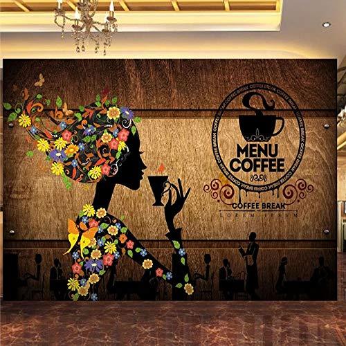 Papel tapiz fotográfico 3D Retro Cafetería Figura Flores Murales Moderno Restaurante creativo Café Fondo Decoración de pared, 300cm×210cm