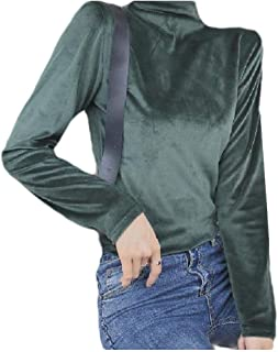 Comaba Women's Velvet Long-Sleeve Solid Colored Blouse Slim Mock Neck Tees