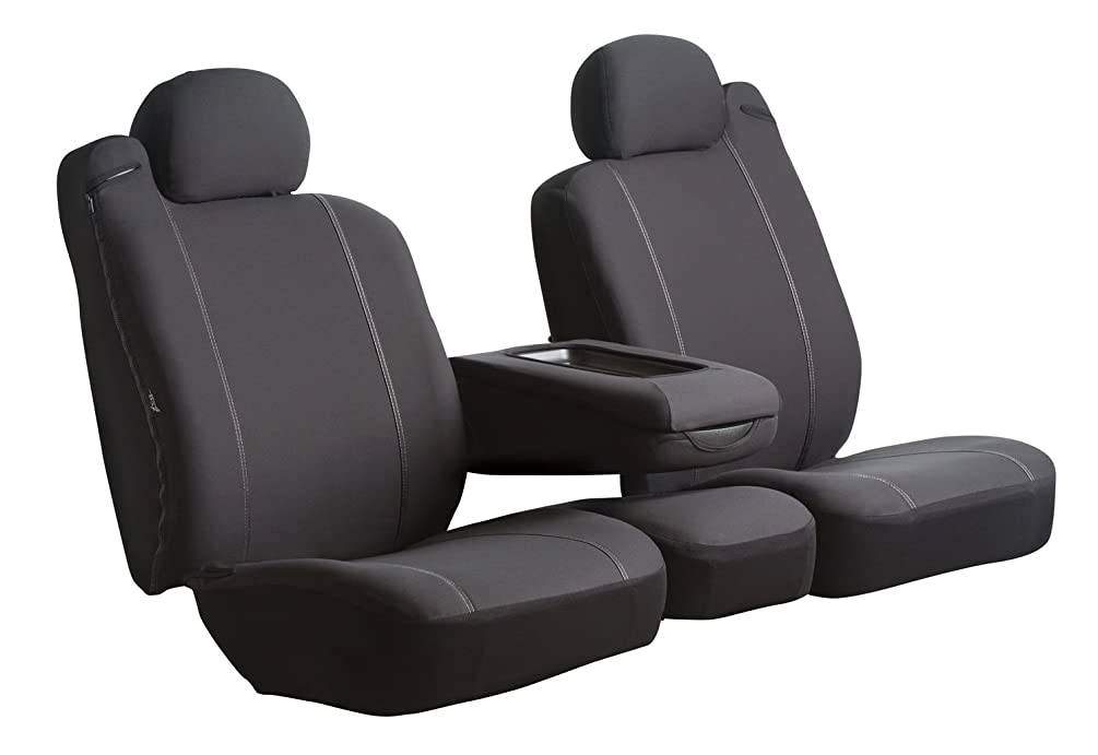Fia SP87-62 BLACK Custom Fit Front Seat Cover Split Seat 60/40 - Poly-Cotton, (Black)