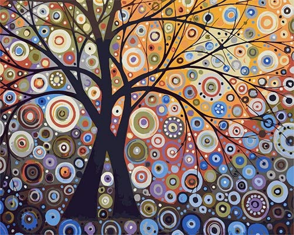 Newsight DIY Oil Painting Paintworks Paint by Number for Kids and Adults (Shiny Tree)