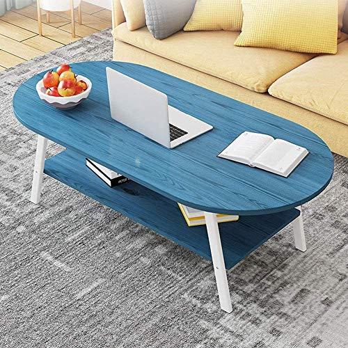 YYANG Beistelltisch Nordic Oval Massivholz Couchtisch Wohnzimmer Sofa Tisch Einfach Zu Montieren 2-stöckigen Niedrigen Beistelltisch - Blau,120cm*60cm*47cm