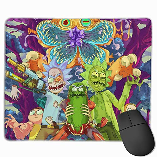 customgogo Rick & Morty Gaming Computer Mouse Pad With Stitched Edge, Premium-Textured Mouse Mat, Non-Slip Rubber Base Mousepad For Computer,Laptop,Home, Office,Travel,Pc-10x12x0.1 Inch