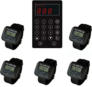 SINGCALL Wireless Calling System Kitchen Paging Waiter System,Chef Press a Button to Buzzer Waiter to Pick up Dishes,Pack of 5 pcs Watches