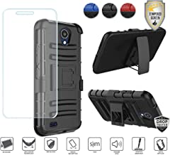 Compatible for At&t Axia QS5509a Case, Cricket Vision Case with Holster, with Tempered Glass Screen Protector, Premium Holster Hybrid Combo Case [Clip] with Stand [Shockproof] [Armor] (Black/Black)
