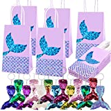 Duufin 26 Pieces Mermaid Party Favors Set Including 13 Packs Mermaid Party Bags Paper Gift Bags and 13 Pcs Mermaid Tail Keychains Flip Sequin Keychains for Mermaid Themed Party