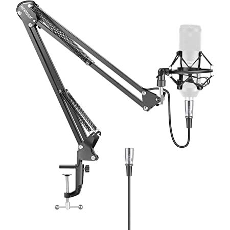 Neewer NW-35 Metal Suspension Boom Scissor Arm Stand with Built-in XLR Male to Female Cable, Shock Mount and Table Mounting Clamp (Black)