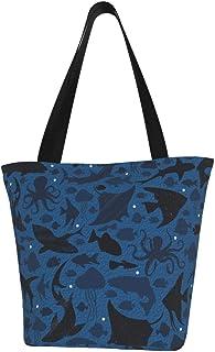 Lesif Einkaufstaschen, tief im blauen Meer, Segeltuch, Schultertasche, wiederverwendbar, faltbar, Reisetasche, groß und langlebig, robuste Einkaufstaschen