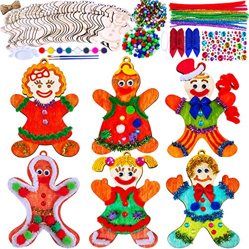 40 Set Wooden Christmas Ornaments Craft Kit DIY Gingerbread Man Ornaments Paintable Wood Gingerman Family Dolls Gingerman Cutout Hanging Christmas Tree Ornaments for Kids Xmas Decoration