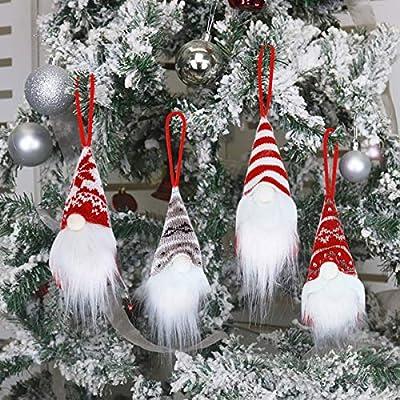 Christmas Gnomes Christmas Tree Hanging Ornaments Set of 4, Handmade Plush Tomte Gnome Swedish Scandinavian Santa Doll for Xmas Gifts,Home Holiday Decorations Birthday Present