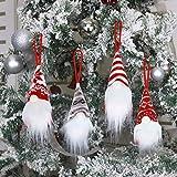 Juego de 4 adornos colgantes para árbol de Navidad, hechos a mano de peluche, gnomo, gnomo, sueco, Papá Noel escandinavo para regalos de Navidad, decoración de vacaciones en el hogar, regalo de...