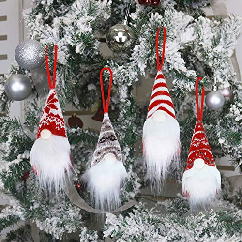 great Christmas Ornaments Set of 4, Handmade Swedish Tomte Gnomes Plush Scandinavian Santa Elf Table Ornaments Christmas Tree Hanging Decoration Home Decor