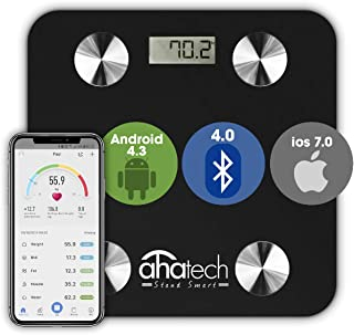 AHATECH Digital weight scale, Smart Scale Bluetooth Body Fat Scale with IOS and Android APP, Smart Digital Bathroom Scale ...