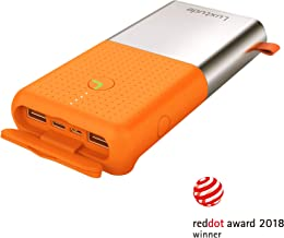 Luxtude 20000mAh Waterproof Portable Charger, Built-in Strong LED Camping Light Power Bank, Dual USB 4.8A [Shock/Dust Proof] Outdoor External Batteries Compatible iPhone, iPad, Samsung Galaxy - Orange
