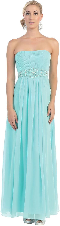 May Queen MQ635 Strapless Bridesmaids Dress (Aqua)