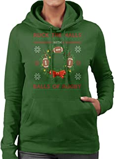 Ruck The Halls with Balls of Rugby Women's Hooded Sweatshirt