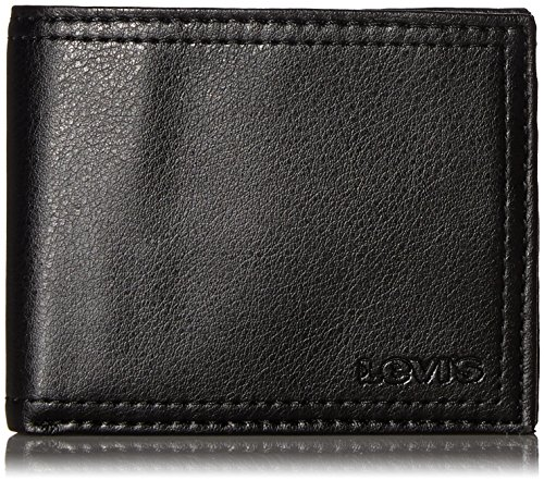 Levi's MensRfid - Billetera plegable con ventana de identificación y tarjetero Negro 1 talla única