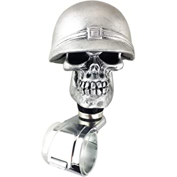 Abfer Suicide Knob Car Steering Wheel Power Turning Assist Spinner Helper Pirate Skull Shape Fit Vehicles Trucks Boats Silver