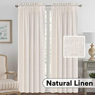 H.VERSAILTEX 2 Panels Ultra Luxurious Natural Linen Blended Light Filtering Curtains Breathable and Airy Window Treatment Drapes with Rod Pocket Top for Bedroom, Extra Long 108 - Inch, Natural