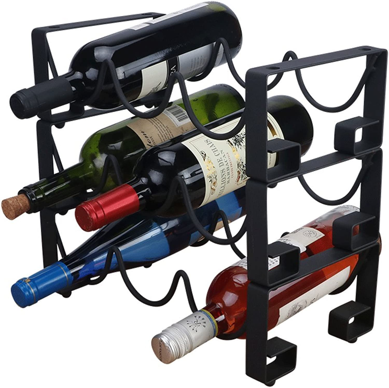 Leiking 9 Bottle Countertop Wine Rack Free-Standing Metal Bottle Holder and Storage Perfect for Bar, Cellar, Cabinet and Pantry in Classy, Decorative, Modern and Sturdy Black Finish