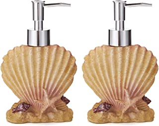 JYXR HOME&LIVING 7Oz Soap Dispensers, Refillable Hand Soap Dispenser for Bathroom, Bedroom and Kitchen, Beach Theme Bathroom Accessory 2 Pack