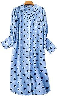 ENIDMIL Chemises de Nuit Femme Manches Longues en Coton Robe V/êtements de Nuit et de D/étente Longue avec Bouton