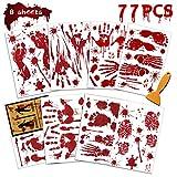 Bloody Handprint Footprint Halloween Decorations,77 PCS Halloween Window Clings, Creepy Halloween Window Decoration, Spooky Window Stickers for Halloween Party Decorations