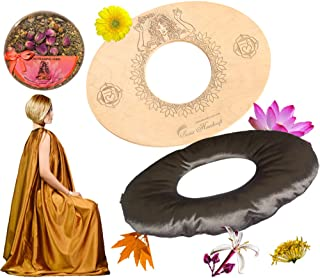 Sama Handcraft Yoni Seat in a Luxury Package-Devi steam Wooden SEAT with Engraved Pictures of Goddess Yoga and Muladhara (Luxury Queen (Yoni Seat+Herbs+Cushion+Gown), Natural)