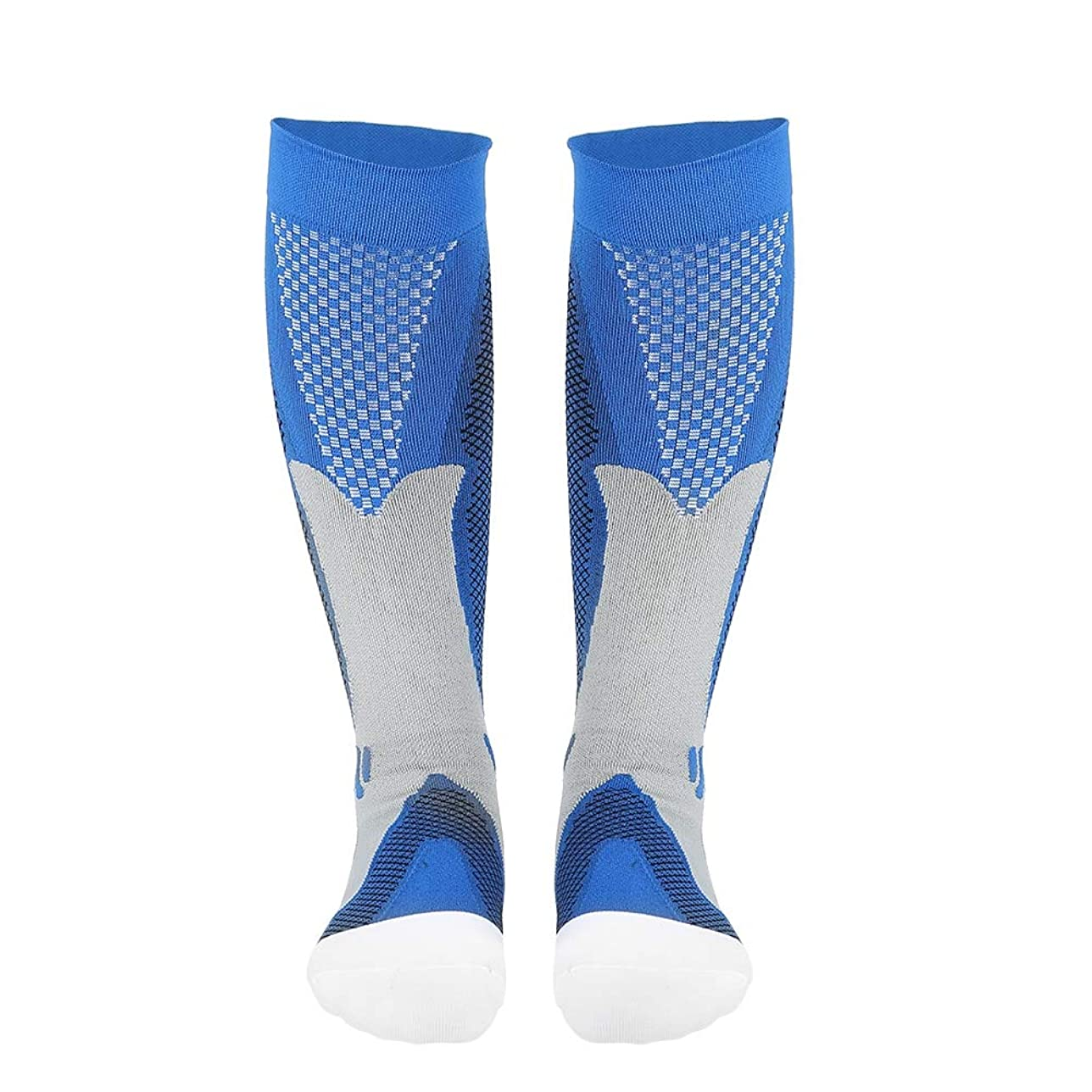 整理するコートペストリー男女通用の圧縮筋靴下 むくみケア用靴下 ランニング バスケ スリム 美脚 靴下 (S/M-ブルー)